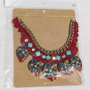 Independent Jewelry - New Chunky Bead & Stone Red Boho Festival Necklace